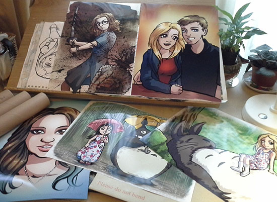 Anime portraits printed and ready to post out to customers