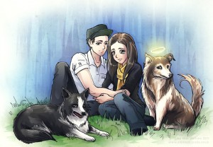 An an anime portrait for Britt with her fiance and 2 pet dogs.